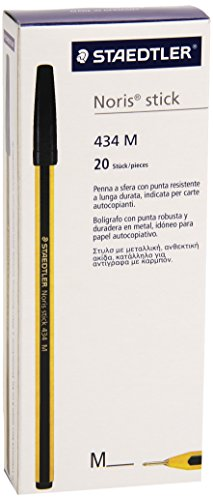 Staedtler Noris stick 434 – Caja de bolígrafos (20 unidades), color negro
