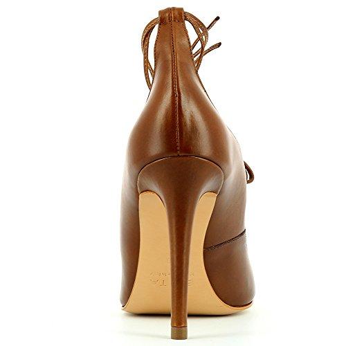 ALINA Damen Pumps Glattleder Cognac