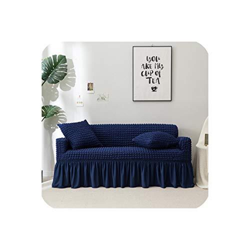Love every day Sofa-Abdeckung mit Rock europäischen Schnitt Couch Sofabezüge für Wohnzimmer Sessel Sofabezüge Elastic Stretch, Marineblau, Pillowcase x 2 -