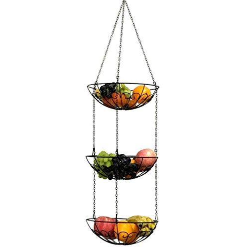 QJONKE 3 - Tier Draht Hängenden Racks Inhaber Korb Obst Gemüse Korb Lagerung Obst Lebensmittel Gemüse Lagerung Trays Küche Lagerung (3-tier-draht-körbe)