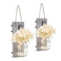 SMAQZ Mason Jar Sconces, LED Light - 20 LED Lights Jar Path Light Garden Outdoor Table Lantern - Suitable for Party Wedding Christmas Decorative(2 Pcs)