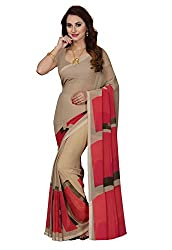 Ishin Faux Georgette Beige Geometric design Printed Party Wear Wedding Wear Bollywood New Collection Latest Design Women Saree