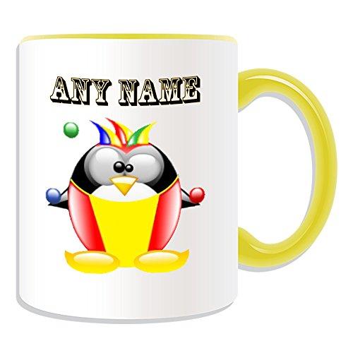 Personalisiertes Geschenk-Clown Becher (Design Pinguin in Kostüm Thema, Farbe Optionen)-alle Nachricht/Name auf Ihre einzigartige-Joker Bälle, keramik, gelb (Joker Cartoon Kostüm)