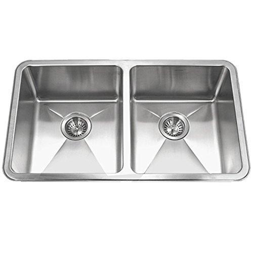Houzer NOD-4200 Nouvelle Series 25mm Radius Undermount Stainless Steel 50/50 Double Bowl Kitchen Sink by HOUZER -