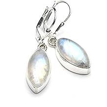 Mystic Silver - Preciosos Pendientes - Piedra natural de Piedra de luna Alta Calidad, Plata de ley 925. 35mm 6g