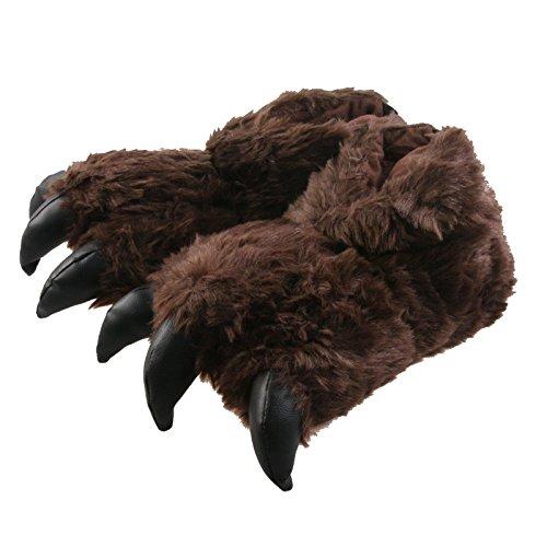 Tierhausschuhe Plüsch Tier Hausschuhe Monster Kralle flauschig Schlappen Pantoffel weich Slipper Bigfoot, TH-MKDB Braun
