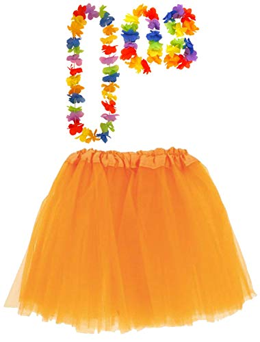 Labreeze Orange Tutu Netz Rock mit Satinband Hula Lei Set Hawaiian Strand Party Kostüm