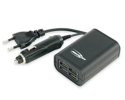 ANSMANN 5211013 Quattro Usb-Charger Adattatore Auto da 12V + 100-240V