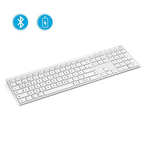 Jelly Comb Bluetooth Funk Tastatur, Kabellose Ultraslim Tastatur, Fullsize Design, QWERTZ Deutsches Layout für MacBook, PC, Laptop, Smart TV, Tablets, Smartphones und mehrere Bluetooth-Geräte, Weiß