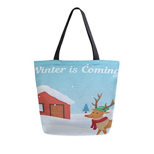 Winter kommt komisch willkommen tragbare große doppelseitige beiläufige leinwand tragetaschen handtasche schulter wiederverwendbare einkaufstaschen duffel geldbörse frauen männer lebensmittelgeschäft