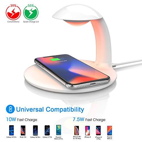 Oeegoo Nachttischlampe Touch Dimmbar mit Fast Wireless Charger, LED Nachtlicht, Tischlampe, RGB Farbwechsel Stimmungslicht,10W Qi Ladegerät, Kabellose Ladestation für iPhone/Samsung/HUAWEI/Xiaomi