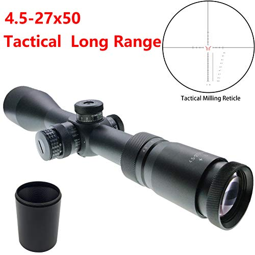 Hauska Tactique 4.5-27X50 SFIR Lunette de visée Sniper Rifle Scope Rouge illuminée Side Parallax Riflescope