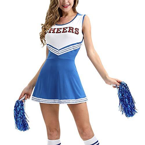 chsene Bekleidung Röcke - Cheerleader Uniformen Damen Mädchen Kostüm Pompoms Karneval Halloween Outfit Cheerleading Bekleidung ()