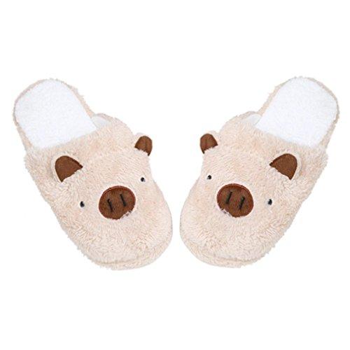 Chaussons Winter Plush Slippers, Amlaiworld Beau cochon Plancher à la maison Soft Chaussons Pantoufles rayées Chaussures femelles