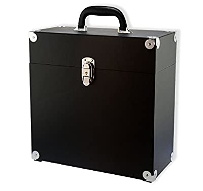 """JACK & CABLE Vinyl Record Case for 12"""" LPs Albums - Black with Silver hardware (JC0498)"""