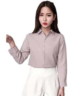 Soporte sólido Collar delgado blusa de la gasa de la mujer Gray XL