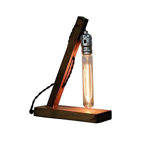 Pointhx Vintage Retro Holzfuß Edison E27 Schreibtisch Lichter Leuchte Antik Holz Tisch Akzent Lampen für Nachttisch Cafe Bar Schlafzimmer Esszimmer Wohnzimmer (Taste Schalter) - Akzent Tisch Lampe