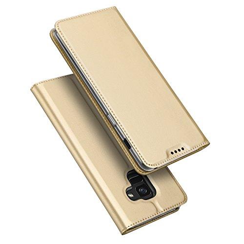 DUX DUCIS Samsung Galaxy A8 2018 Hülle, Handyhülle [Standfunktion] [1 Kartenfach] [Magnetverschluss] Ultra Dünn, Slim Flip Case Cover,Ledertasche Schutzhülle für Galaxy A8 2018 (Golden)