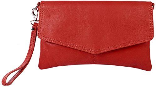 Clutch / borsetta da sera JosyJoe 'Sarandon' in vera pelle, colore:Rosso Rosso