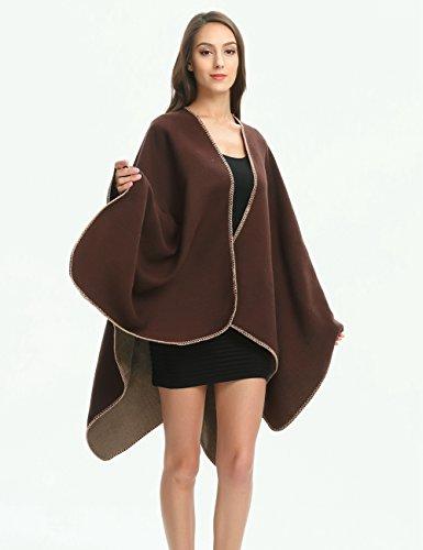 Ferand Poncho Cape Elegant für Damen, Stil Vorne Offen und Dicke für Herbst Winter Stil 1: Braun