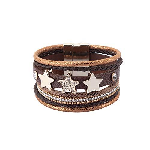 NovaLuna - Wickelarmband 'Triple Star' mit Strass, Drei Stern Amuletten und Magnet-Verschluss - Damen Armband Accessoire Glitzer Steine Schmuck Armschmuck in Fuchs BRAUN