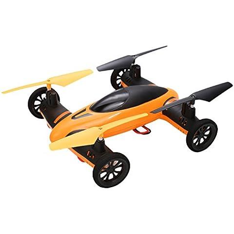 ZEARO Cuadricoptero Minia 2,4 GHz 4 Canales 6-Axis Sky Land Car RC RC Cuadricoptero 360 grados Avión con Control Remoto -Naranja