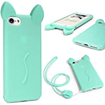 Funda iPhone 6 Plus / 6s Plus , URCOVER Funda Orejas de Gato para Mujer / Niña Carcasa Silicona Flexible Gato Kitty Cat Apple iPhone 6 Plus / 6s Plus + Cuerda para Colgar Seguridad para Móvil Smartphone Verde
