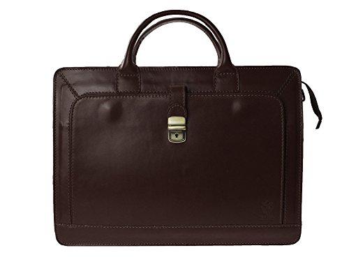 "bag2basics - Damen Aktentasche ""Akte Y"" in cognac - Aktenkoffer Lehrertasche - Echtes Leder made in Italy dunkelbraun"