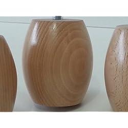 Patas de madera de 4x Patas De Muebles De Madera Para Sofás, Sillas, Taburetes M1010mm Natural