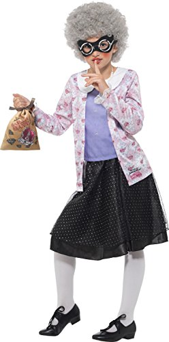 id Walliams Deluxe Gangster Granny Kostüm, violett/schwarz, Large, UK 10–12 (Gangster-kostüm Für Kinder)