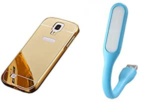 Novo Style Back Cover Case with Bumper Frame Case for Samsung I9500 Galaxy S4  Golden + Mini USB LED Light Adjust Angle / bendable Portable Flexible USB Light