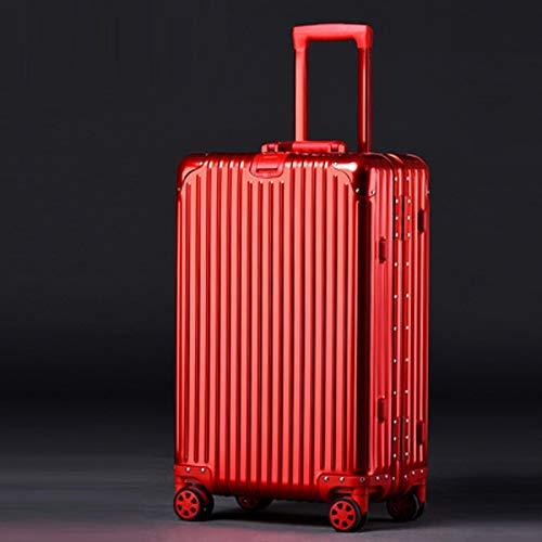 AZHom Reisegepäck Trolley Unisex Korean Aluminium Aluminium Magnesium Alloy Universal Rad Gepäck Großraumschloss Box (Color : Red, Size : 29inch)