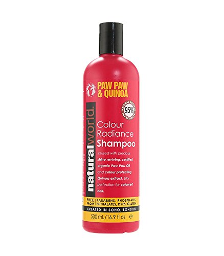 NATURAL WORLD PAW PAW & QUINOA COLOUR RADIANCE SHAMPOO FOR COLOURED HAIR 500ML