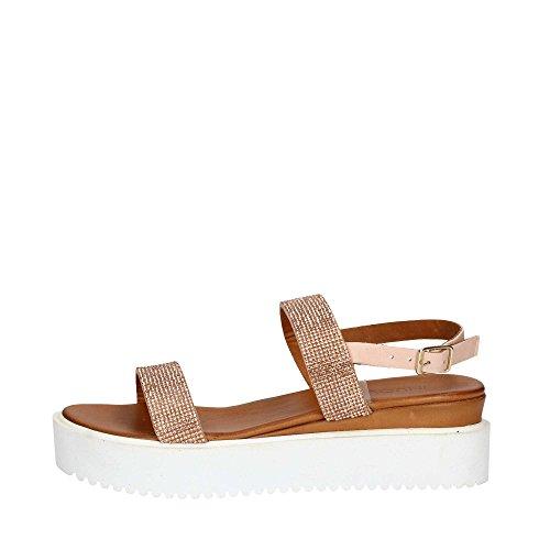 INUOVO 7575 Sandalo da Donna in pelle con strass e platform Cipria