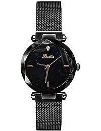 RORIOS Moda Mujer Relojes de Pulsera Cielo Estrellado Magnética Mesh Band Dial Relojes de Mujer