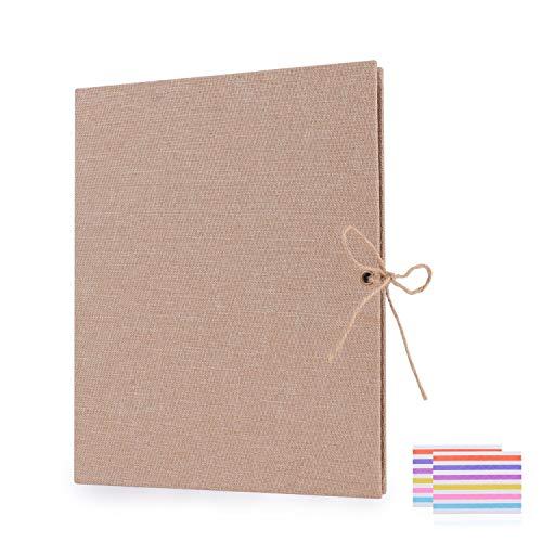 EKKONG DIY Scrapbook Fotoalbum,Fotoalbum zum Selbstgestalten,Leinen Nachfüllbar Fotobuch Retro Gästebuch Stammbuch (Braun) -