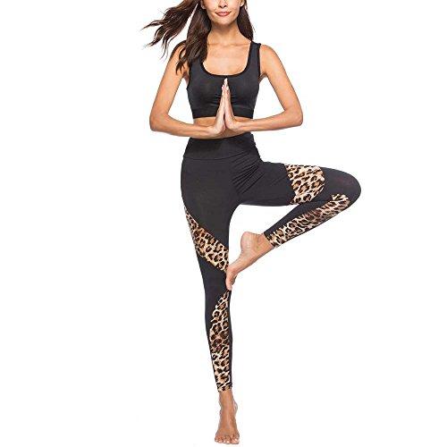 VPASS Mujer Pantalones,Elásticos Impresión Pantalones de Yoga de Leopardo Mujer Fitness Mallas Gym Yoga Slim Fit Pantalones Largos Pantalones Leggings Cintura Alta Deportivos Running Fitness Pantalon