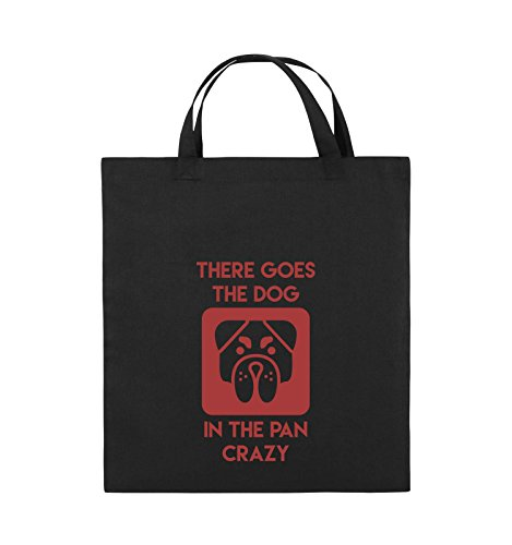 Comedy Bags - There GOES The Dog IN The PAN Crazy - Jutebeutel - Kurze Henkel - 38x42cm - Farbe: Schwarz/Rot -