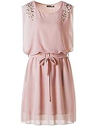 Fashion Damen Frauen Chiffonkleid kurz Sommerkleid Chiffon Kleid Sommerkleid kurz Gelb Pink Schwarz Farbe auswählbar (Asien XL / EU 38, Pink)