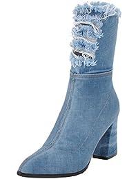 9ab5354a0a7e73 YE Jeans Boot Cut Out Denim High Heels Stiefel Blockabsatz Spitze Damen  Boots mit Reißverschluss