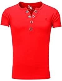 Young and Rich - T shirt homme fashion T shirt 872 rouge col v - Rouge