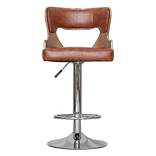 SuRose Stuhl Retro Verstellbare Barhocker, 360 Grad drehbar, Bar Creative mit Armen und Rücken Hocheuropäisch (Farbe: Hellbraun, Größe: H90cm) (Arm Stuhlhussen)