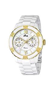 Lotus Reloj de cuarzo para mujer con color blanco esfera analógica pantalla y blanco pulsera de cerámica 15930/2 de Lotus