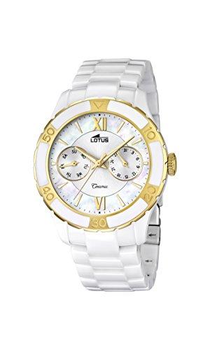 Lotus Reloj de Cuarzo para Mujer con Color Blanco Esfera analógica Pantalla y Blanco Pulsera de cerámica 15930/2