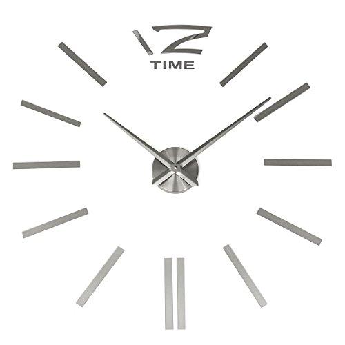 3D Wanduhr DIY Design Wohnuhr, MECO Nummer Ziffer Uhr Wandaufkleber Wandtattoo Deko, Acryl Spiegel Metall Rahmenlose Wandaufkleber groß Uhren Style Raum Home...