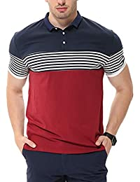 738d6a9a417acc fanideaz Men's Cotton Red Half Sleeve Striped Polo T Shirt with Collar