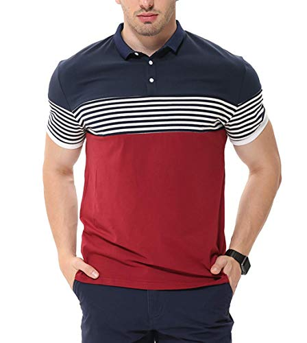 fanideaz Branded Men's Cotton Striped Polo Collar Tshirts for Men_Red_L