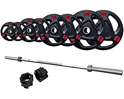 Prosportsae 7ft Olympic Barbell with Tri-Grip Rubber Plates Set for Home Gym – Weight Plates and Barbell Set for Strength Tra