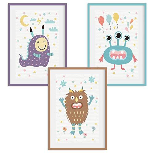 HappyWords® 3er Bilder Set - DIN A4 ohne Bilderrahmen | Bilder für Kinderzimmer & Bilder Babyzimmer | Junge Mädchen Baby | Kinder-Poster | Tiere Kinderbilder Kinderzimmer | 3er Set Monster