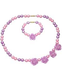 Daizy Purple Flower and Imitation Pink Pearl Jewellery set of Necklace and Bracelet for Girls